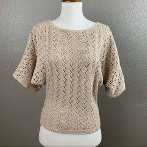 Staring at Stars beige crochet cropped sweater